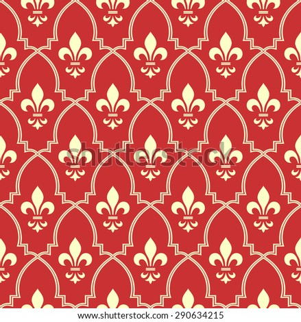 Pattern with royal lily. Seamless background. Red and gold floral ornament. - stock photo