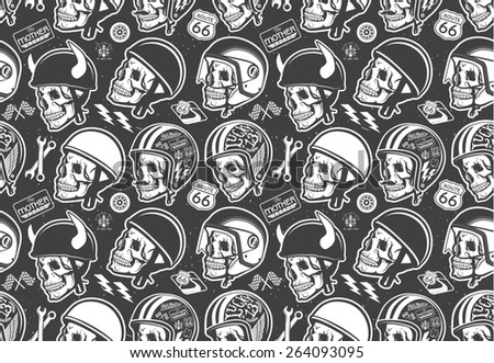 Pattern with skull and helmet - stock photo