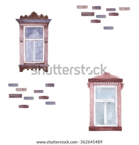 Pattern with watercolor windows. Hand drawn. - stock photo