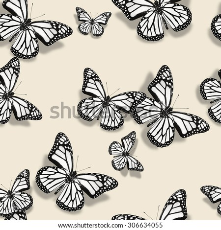 Pattern with white butterflies