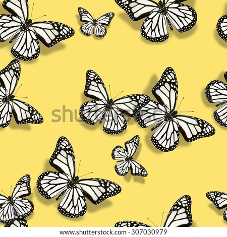 Pattern with white butterflies - stock photo