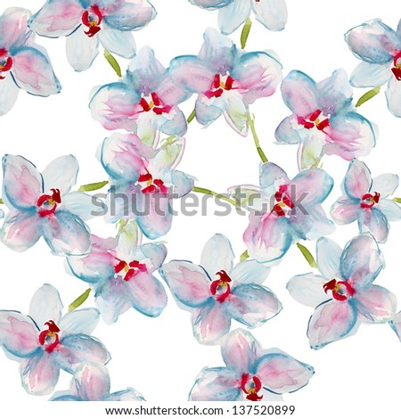 pattern with white orchids - stock photo