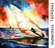 Pattern written by oil color on a texture a canvas-sportsman on the transparent sailing windsurfing floating on waves against the sunset sun and the multi-colored sky - stock photo