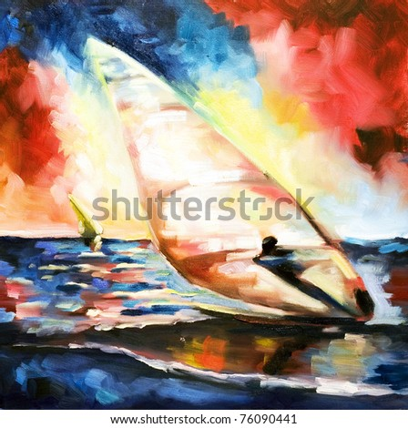 Pattern written by oil color on a texture a canvas-sportsman on the transparent sailing windsurfing floating on waves against the sunset sun and the multi-colored sky