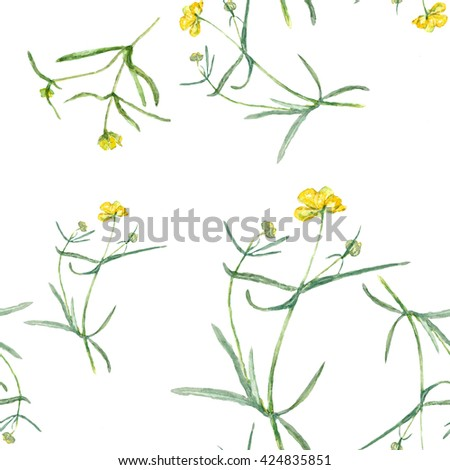 Pattern yellow flowers drawing watercolor small stock illustration pattern yellow flowers drawing watercolor small grasses and wildflowers mightylinksfo