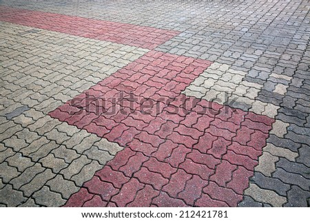 Patterned brick flooring - stock photo