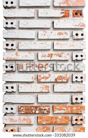 Patterned brick pillars, isolated. - stock photo
