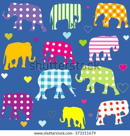 Patterned elephants, background for children - stock photo