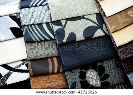 patterned fabric samples - stock photo