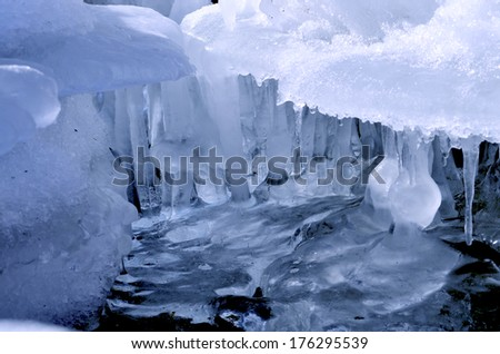 patterned glaciers on water
