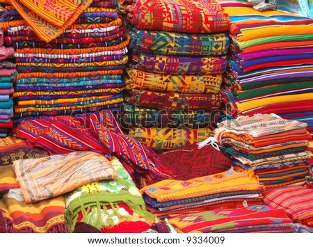 Patterned Textiles in a Native American Market showing bright colors - stock photo