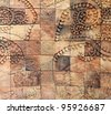 Patterns from Walls of earthenware Tile. - stock photo