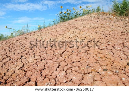 Patterns in the parched ground of Badlands National Park in South Dakota - stock photo