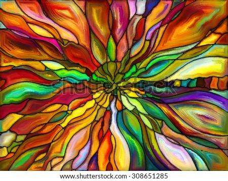 Patterns of Color series. Arrangement of painted stained glass pattern on the subject of imagination, creativity and art - stock photo
