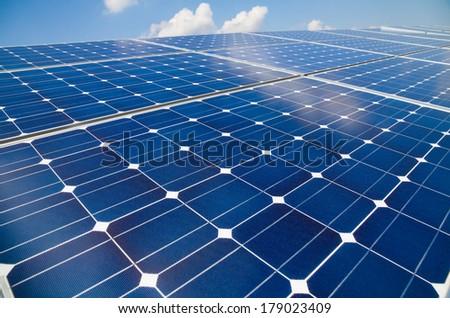Patterns of mono-crystalline photovoltaic cells - stock photo