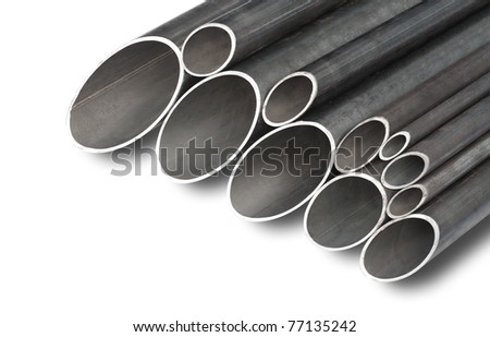 patterns of steel pipes of different diameter for pipeline construction - stock photo