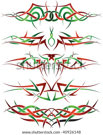 Patterns of tribal tattoo for design use - stock photo