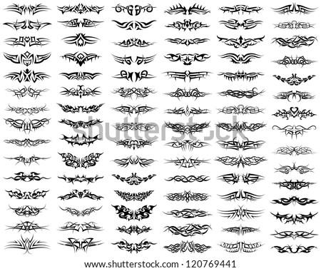 Patterns of tribal tattoo set.  Raster version. - stock photo