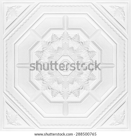 Patterns on the ceiling gypsum sheets - stock photo