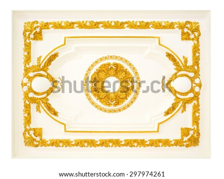 Patterns on the ceiling gypsum sheets background. - stock photo