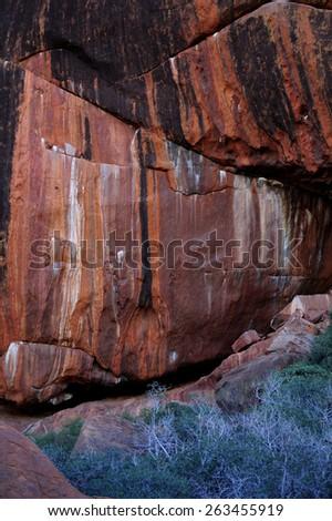 Patterns on the rock at Kata Tjuta in Central Australia - stock photo