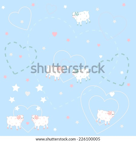 Patterns with sheep  - stock photo