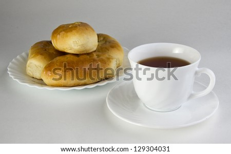 Patties on a plate and a cup of tea. - stock photo