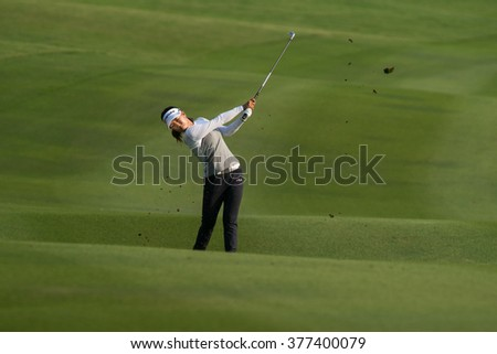 PATTYA, THAILAND-FEBRUARY 20: Jenny Shin of Korea in action during Round 3 of Honda LPGA Thailand 2015 on February 20, 2015 at Siam Country Club Old Course in Pattaya, Thailand