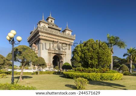 Patuxai (Victory Gate) in Vientiane, Laos  - stock photo