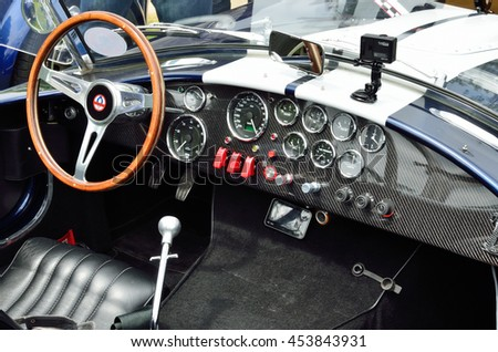 PAU, FRANCE - MAY 24 2015: The inner space of the retro race car is photographed at the exhibition of the old-fashioned automobiles during Grand Prix Historique in PAU, FRANCE - MAY 24 2015.