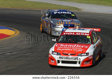 Paul Weel (Holden) and Jason Bargwanna (Ford) battle at the Clipsal 500, Adelaide...