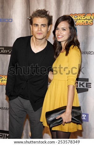 Paul Wesley and Torrey DeVitto at the Spike TV's 2011 Scream Awards held at the Gibson Amphitheatre in Universal City on October 15, 2011. - stock photo