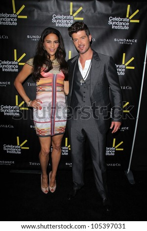 Paula Patton, Robin Thicke at the Sundance Institute Benefit Presented by Tiffany & Co., Soho House, Los Angeles, CA 06-06-12 - stock photo