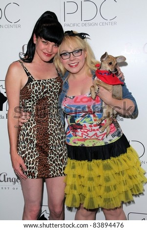 """Pauley Perrette, Kristen Vangsness at the 2nd Annual Patterns for Paws """"Pup-A-Razzi""""Benefiting the Amanda Foundation, Pacific Design Center, West Hollywood, CA. 08-24-11 - stock photo"""