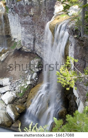 Paulina Creek Falls in Newberry National Volcanic Monument - stock photo