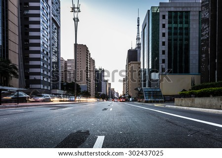Paulista Avenue at night in Sao Paulo, Brazil - stock photo