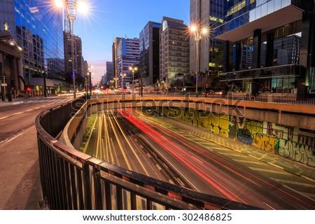 Paulista Avenue at twilight in Sao Paulo, Brazil - stock photo