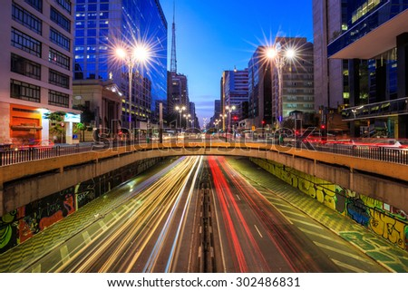 Paulista Avenue at twilight in Sao Paulo, Brazil - stock photo
