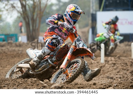 Pauls Jonass No.41 Team Red Bull KTM Factory Racing in competes during Qualifying Race MX2 class the FIM Motocross Wolrd Championship Grand Prix of Thailand on March 05,2016 in Thailand. - stock photo