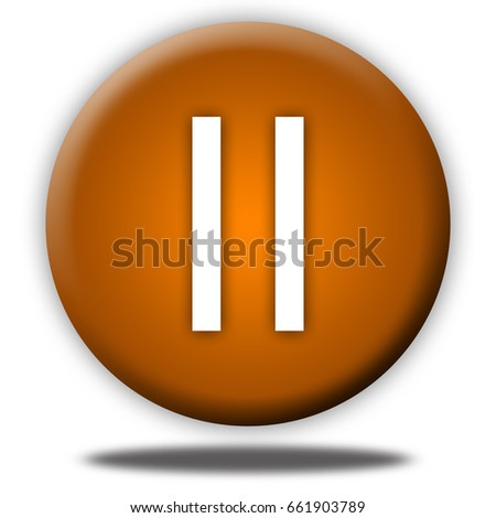 pause button isolated, 3d illustration