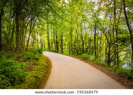 Paved path through the forest at Centennial Park, Columbia, Maryland. - stock photo