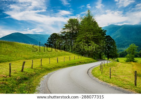 Paved trail at Cades Cove Great Smoky Mountains National Park  in Tennessee - stock photo