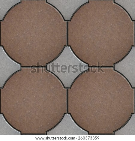 Pavement Brown and Gray. The Circle is Surrounded by Rhombs. Seamless Tileable Texture. - stock photo