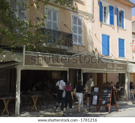 pavement cafe in saint-tropez - french riviera, mediterranean sea
