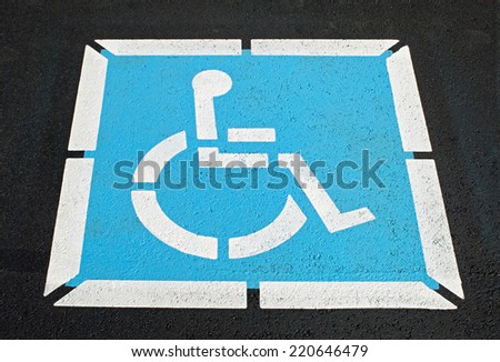 Pavement Handicap Symbol - stock photo