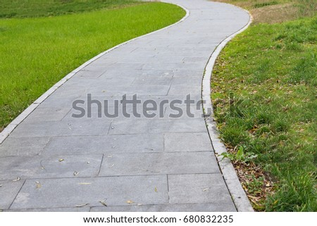 pavement in a park of China.