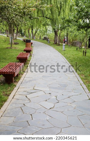 Pavement made of stone in the park