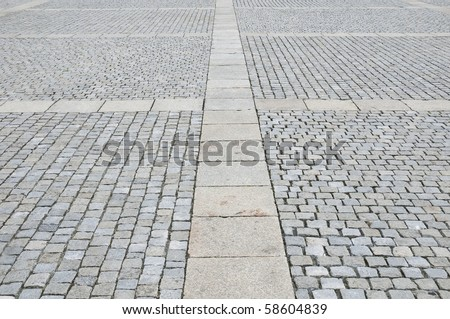 Pavement of Granite in the city of Berlin, Germany. - stock photo