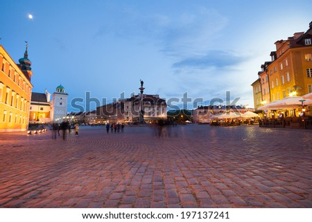Pavement of the Plac Zamkowy, Castle square main square of Poland capital Warsaw at night