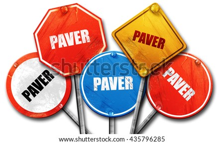 paver, 3D rendering, rough street sign collection - stock photo